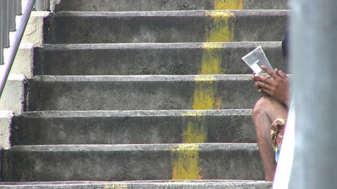 Beggar On A Staircase Stock Video Footage