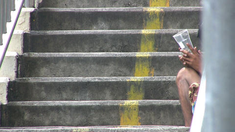 Beggar On A Staircase stock footage