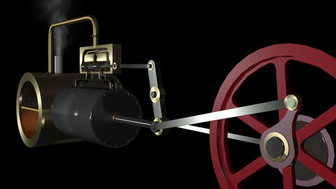 Steam Engine Pan Animation hd Stock Video Footage