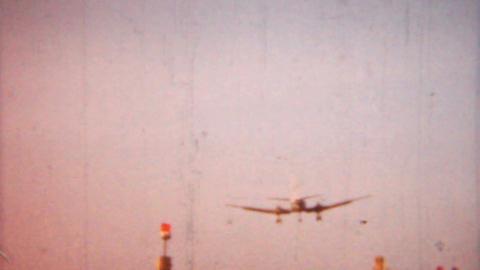 Airplane Landing 1958 Vintage 8mm film Stock Video Footage