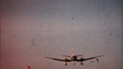 Airplane Landing 1958 Vintage 8mm film Stock Video Footage