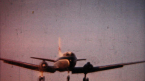 Airplane Landing 1958 Vintage 8mm film Footage