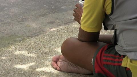 Beggar Receives A Coin Stock Video Footage