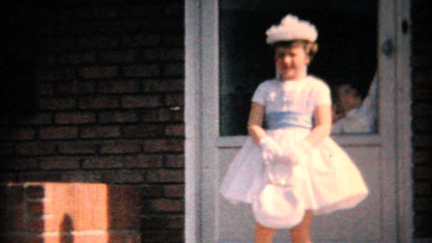 Cute Girl In Her Easter Dress 1964 Vintage 8mm film Stock Video Footage