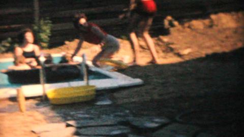 Family Enjoys New Pool 1969 Vintage 8mm film Stock Video Footage