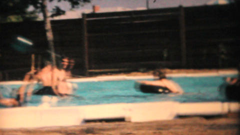 Family   Enjoys   New   Pool  1969  Vintage  8mm  Film stock footage