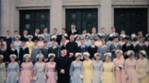 Teenage Girl Graduates From Catholic School 1964 Vintage... Stock Video Footage