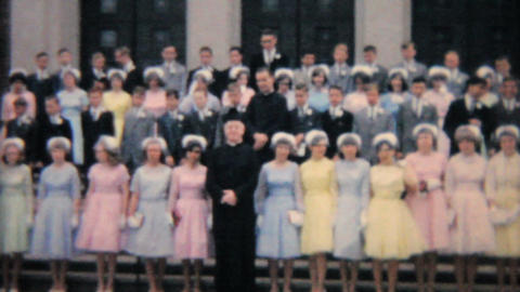 Teenage Girl Graduates From Catholic School 1964 Vintage... Stock Video Footage