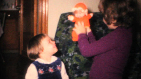 Sisters Playing With Dolls 1968 Vintage 8mm film Footage