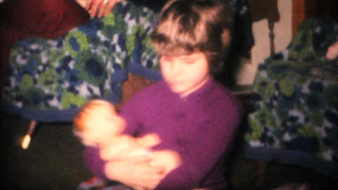 Sisters Playing With Dolls 1968 Vintage 8mm film Stock Video Footage