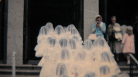 Catholic School Girl Grads Enter Church 1964 Vintage 8mm... Stock Video Footage