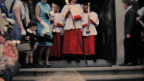 Catholic School Grads Leave Church 1964 Vintage 8mm film Stock Video Footage