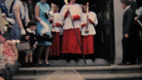 Catholic School Grads Leave Church 1964 Vintage 8mm film Stock Video Footage