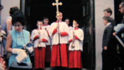 Catholic School Grads Leave Church 1964 Vintage 8mm film Footage