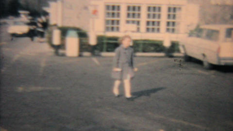 Family Leaving Church 1964 Vintage 8mm film Stock Video Footage