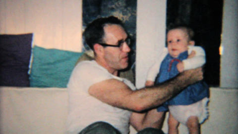 Grandfather Plays With New Granddaughter 1965 Vintage 8mm film Footage