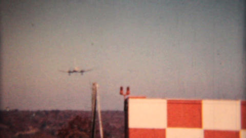 Large Airplane Comes In For Landing 1958 Vintage 8mm film Stock Video Footage