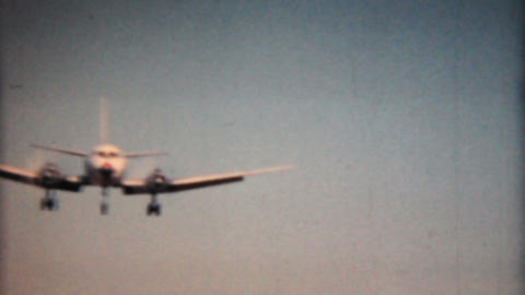Large Airplane Comes In For Landing 1958 Vintage 8mm film Footage