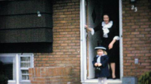 Shy Little Girl In Cute Easter Dress 1964 Vintage 8mm film Stock Video Footage