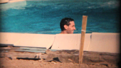 Summertime Fun In The New Swimming Pool 1969 Vintage 8mm... Stock Video Footage