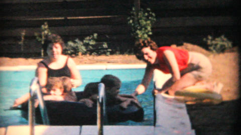 Young Moms With Kids Enjoy New Pool 1969 Vintage 8mm film Footage