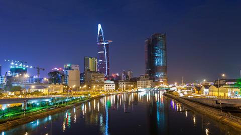 Ho Chi Minh City City Skyline Timelapse at night - 1080 Stock Video Footage