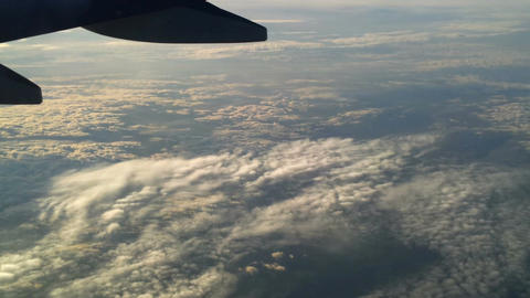 Plane flying over the clouds 6 Stock Video Footage