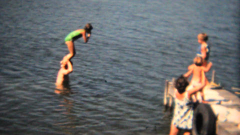 Family Swimming Off The Dock 1968 Vintage 8mm film Footage