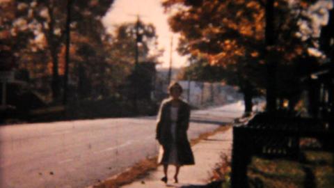 People Walking On Sidewalk 1958 Vintage 8mm film Stock Video Footage