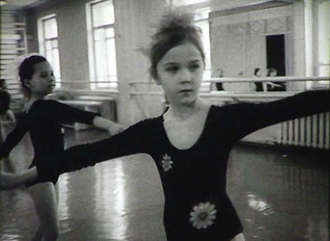 Children's school of ballet. Newsreel of the USSR Stock Video Footage
