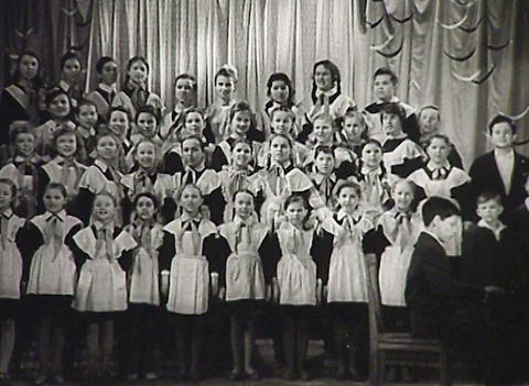 Children's choir. Newsreel of the USSR Stock Video Footage