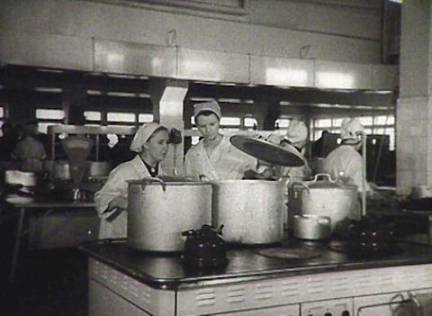 Cooks in the kitchen. Newsreel of the USSR Stock Video Footage