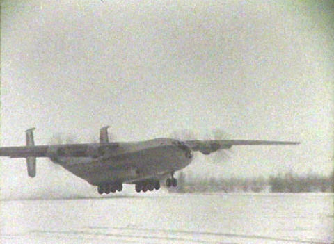 The plane at the North pole. Chronicle of the USSR Stock Video Footage