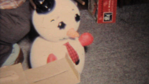 Baby Girl With Psycho Frosty The Snowman 1964 Vintage 8mm... Stock Video Footage