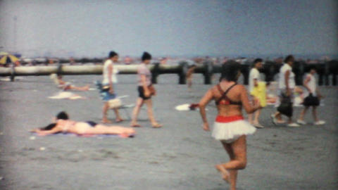Crowded Florida Beach 1967 Vintage 8mm film Stock Video Footage