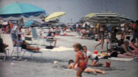 Crowded Florida Beach 1967 Vintage 8mm film Stock Video Footage