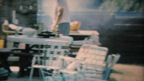 Dad Barbeques For Teenage Pool Party 1969 Vintage 8mm film Footage