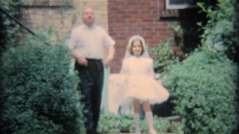 Girl In Graduation Dress With Family 1964 Vintage 8mm film Stock Video Footage
