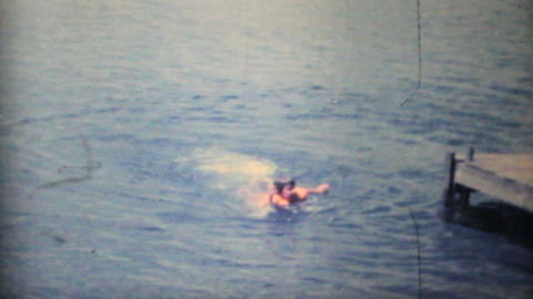 Girl Swimming In The Lake 1968 Vintage 8mm film Footage