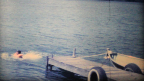 Girl Swimming In The Lake 1968 Vintage 8mm film Stock Video Footage