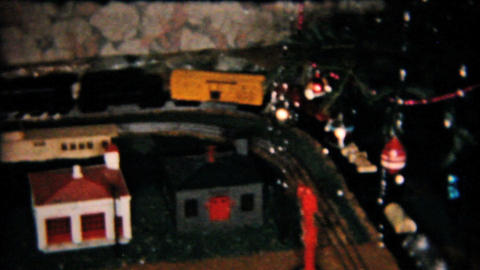 Model Railroad Train Set Under Christmas Tree 1958 Vintage 8mm film Footage