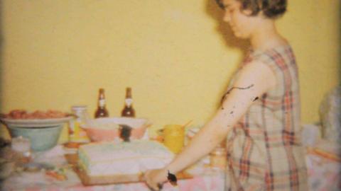 Teenage Girl Cuts Birthday Cake 1964 Vintage 8mm film Stock Video Footage