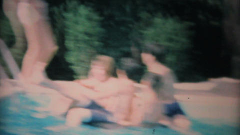 Teenagers Playing In The New Pool 1969 Vintage 8mm film Stock Video Footage