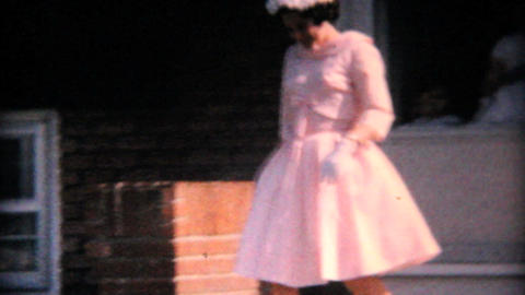 Young Lady In Pretty Pink Easter Dress 1964 Vintage 8mm film Stock Video Footage