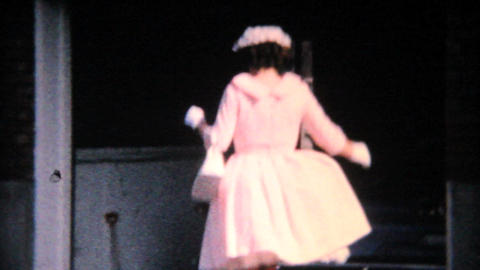 Young Lady In Pretty Pink Easter Dress 1964 Vintage 8mm film Footage