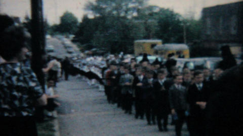 Catholic School Grads In Processional 1964 Vintage 8mm film Stock Video Footage