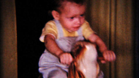Christmas Little Boy On Rocking Horse 1958 Vintage 8mm film Footage