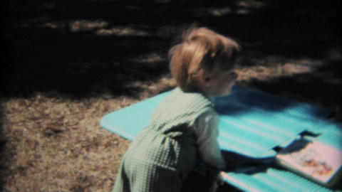 Cute Toddler Playing In Backyard 1968 Vintage 8mm film Stock Video Footage