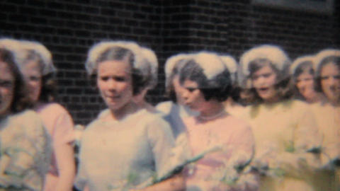 Girls In Colorful Graduation Dresses 1964 Vintage 8mm film Footage