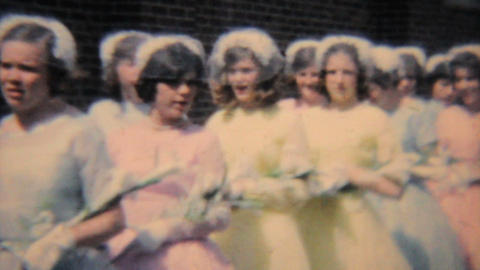 Girls In Colorful Graduation Dresses 1964 Vintage 8mm film Stock Video Footage